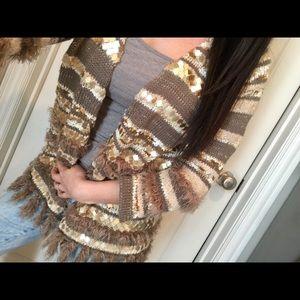 Chico's beige sequin and fur 3/4 sleeve cardigan S